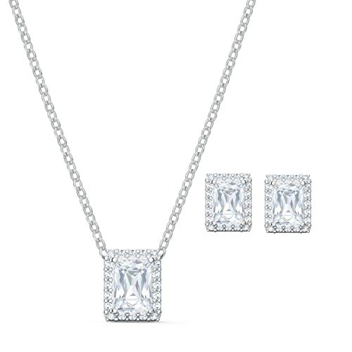 Swarovski Angelic Jewellery Set - Women's Swarovski Necklace and Earring Pair with Sparkling White Crystals in an Elegant Square Shape with Rhodium Plating