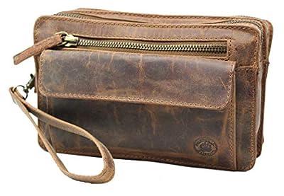Frédéric Johns Sacoche vide poche cuir vintage homme - vide poches cuir véritable - sacoche cuir vintage - sac dragonne main - sacoche porté main (Marron)