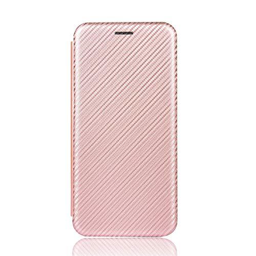 NEINEI Hülle für Xiaomi Mi 10 Lite 5G Handyhülle,Premium Kohlefaser LederHülle Wallet mit Kartenfach und Magnetisch und Standfunktion,PC/TPU Flip Stoßfest Schutzhülle Cover Hülle,Rosa