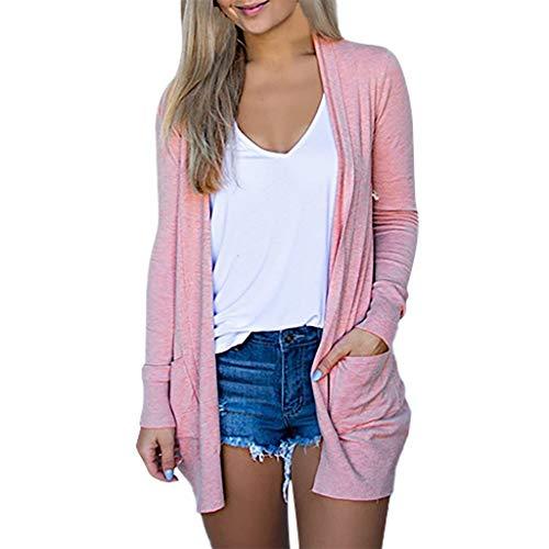 Xmiral Strickjacke Damen Einfarbig Langarm Dünn Mittellang Mantel Große Größe Winter Slim Fit Wild Sweatjacke Oberbekleidung mit Taschen(Rosa,3XL)