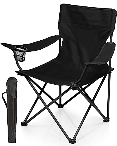 Trongle Folding Camping Chair, Compact Ultralight Folding Chair with Cup Holder, Weather Resistant Splash-Resistant, 52x52x87cm Portable Size for Outdoor, Fishing, Festival, Beach and Camping, Black