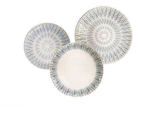 REPLOOD Vajilla de 18 piezas para 6 personas de porcelana modelo Rayos