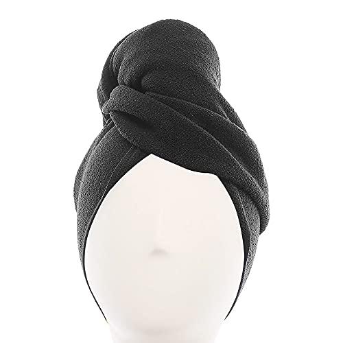 AQUIS - Toalla de pelo original, toalla de microfibra ultra absorbente y de secado rápido para cabello fino y delicado, negro, regular (45,9 x 39 pulgadas)