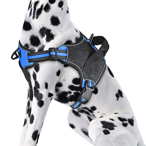 KORIMEFA No Pull Dog Harness, Reflective Vest Harness with 2 Leash Attachments Adjustable Reflective Oxford Outdoor Vest, Easy Control Handle for Small Medium Large Dog. (XL, Blue)