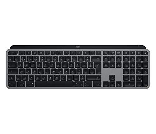 Logitech MX Keys für Mac kabellose beleuchtete Tastatur mit Handballenauflage, LED-Tasten, Bluetooth, USB-C, 10 Tage Batterielebensdauer, Metallaufbau, Apple macOS Spanisches QWERTY-Layout- Grau