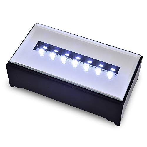 ASENTE 7 LED Light Stand Base - Rectangle Display Pedestal for 3D Crystal Glass Art - Battery or Adapter Plug Operated - 5.25 Inch Illuminated Holder - Lighted Mirror Box for Centerpieces (Black)