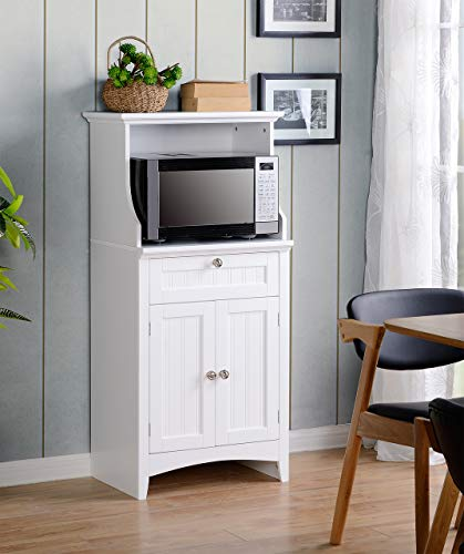 American Furniture Classics OS Home and Office Microwave/Coffee Maker Utility Cabinet Kitchen cart, White