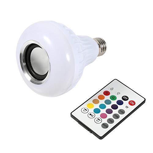 Ymiko Bombilla LED Altavoz Bluetooth, E27 12W RGB Lámpara cambiante Lámpara inalámbrica de reproducción de música Lámpara con Control Remoto de 24 Teclas