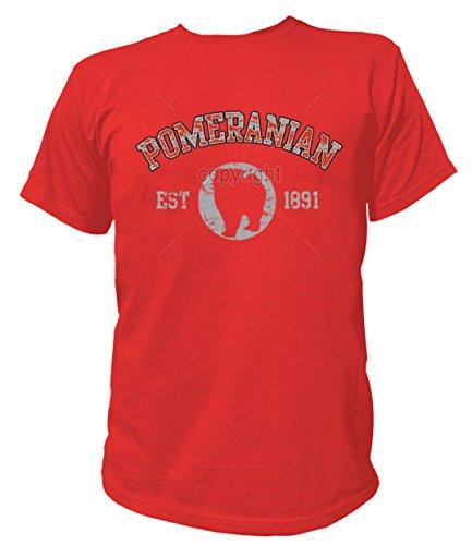 Artdiktat Herren T-Shirt - Pomeranian Zwergspitz - Old School Est. 1891 Größe XXL, rot