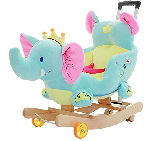 LLKK Rocking horse Putter Caster Elephant Trojan Children Music Rocking Chair Baby Early Education Educational Toys