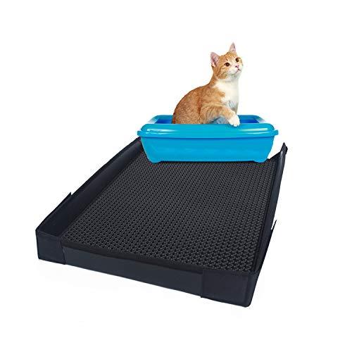 M!Wa Katzenstreu Matte (60x45 cm) mit Seitenwänden und Wabenmuster - Unterlegmatte für Katzenklo - Wasserabweisende und doppelbeschichtete Katzenstreu Matte