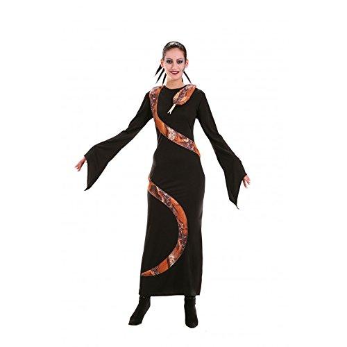 Vestido negro con serpiente de imitacin natural, talla 40, disfraz de Halloween