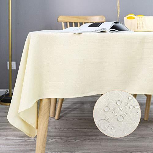 KINLO Tischdecke Leinenoptik Tischtuch Leinendecke Leinen abwaschbar Tischläufer Tischwäsche Eckig Lotuseffekt Wasserdicht Fleckschutz pflegeleicht 140x300 cm Champagne