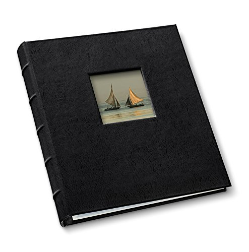 Leather Presentation Binder 1.25' with Window and Hubbed Spine by Gallery Leather - Freeport Black