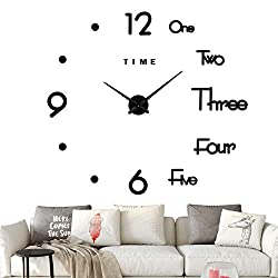 VREAONE Modern DIY Frameless Large Wall Clock 3D Mirror Sticker Metal Big Wall Clock Home Office Decorations (Black)