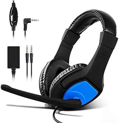 Cuffia per PS4 Gaming Headset, Cuffia per Nintendo Switch, PC e Mobile,Questa cuffia da gioco è dotata di un convertitore audio 2 in 1 e UN microfono regolabile.