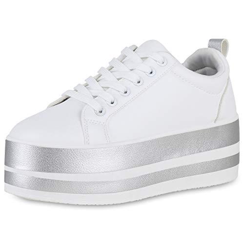SCARPE VITA Damen Plateau Sneaker Turnschuhe Metallic Plateauschuhe Leder-Optik Freizeit Schuhe Schnürer 191242 Weiss Weiss Silber 40
