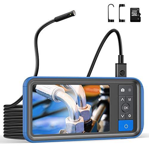 Teslong Zwei Linsen Endoskopkamera,1080P HD Endoskop mit 4,5 -Zoll -Farb-IPS-Bildschirm, Inspektionskamera mit 6 LED Licht, IP67 wasserdichte Rohrkamera, 32GB TF Karte (16.4 FT)