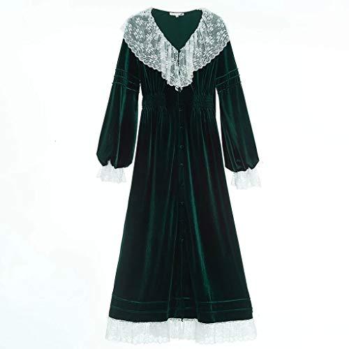 JYDQM Robe Mujeres Princesa Encaje Terciopelo túnica Mujer otoño Novia Vestido Vestido Dulce Encantador Traje de Dormir Largo (Color : A, Size : Medium)