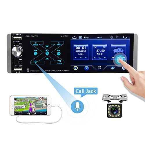 CAMECHO 1 DIN Radio de Coche Pantalla Táctil de 4.1 Pulgadas con Smart AI Voice Control Am FM RDS Radio Bluetooth AUX SD/TF USB Dual + Cámara Trasera