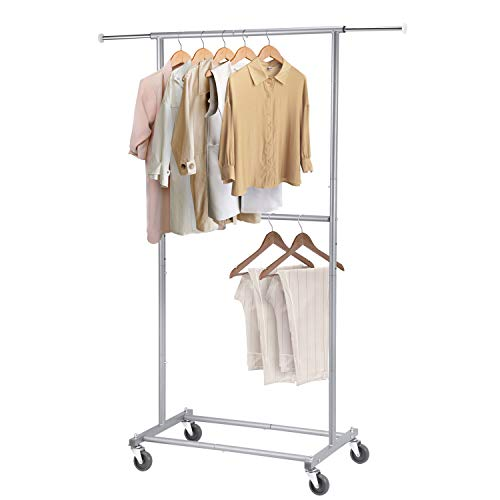 Simple Trending Double Rod Clothing Garment Rack Rolling Clothes Organizer on Wheels for Hanging Clothes Silver