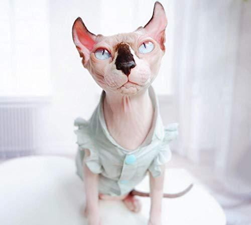 HCYD Koel en ademend katoenen en linnen overhemd rok Sphinx kattenkleding anti-off, XXL