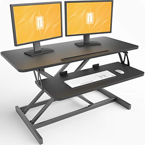 FEZIBO Standing Desk Converter 36 inches Sit Stand Desk Riser Stand up Desk Tabletop Workstation fits Dual Monitor Black