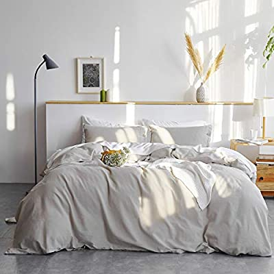 Bedsure 45% Cotton 55% Linen Duvet Cover Set Queen (90 x 90 inches) - 3 Pieces Comforter Cover Set Greige (No Comforter Included) by Bedshe