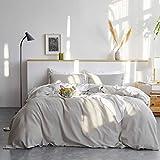 Bedsure Linen Duvet Cover Twin 55% Cotton 45% Linen Duvet Cover Set - 2 Pieces Comforter Cover Set(68 x 90 inchs, No Comforter Included)