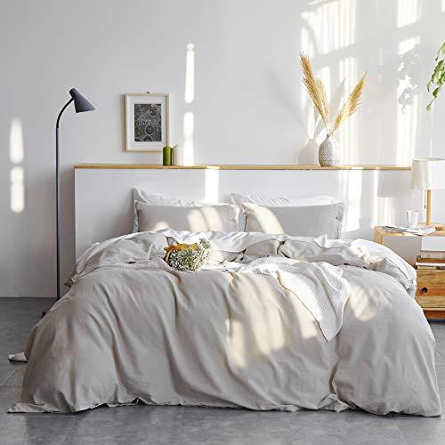 Bedsure 45% Cotton 55% Linen Duvet Cover Set Queen (90 x 90 inches) - 3 Pieces Comforter Cover Set Greige (No Comforter Included)