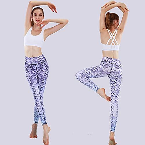 ArcherWlh Leggings,Ropa de Yoga Fitness Running Femenino Europeo Y Americano Yoga Pantalones Pantalones Pantallas SPEET Scry Hips High Cintura Pantalones de Yoga-Pez Purple Purple_Metro