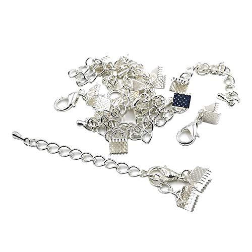 JIHUOO 20 juegos de extremos de cinta para pulsera de pinza de crimpado de abrazadera de cordón con extensión de cadena de pulsera conector para joyería de plata