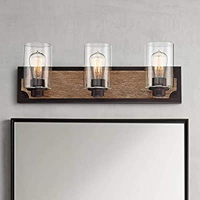 """Buford Rustic Farmhouse Wall Light Wood Accented Black Hardwired 23"""" Wide 3-Light Fixture Clear Glass Cylinder for Bathroom Vanity Mirror - Franklin Iron Works"""