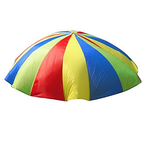 Sugoyi Kinder Spielen Fallschirm, 1,8 m Jump-Sack Kinder Spielen Fallschirm Regenbogen Fallschirm Spielzeug für Indoor Outdoor Gymnastik Kooperatives Spiel und Aktivitätsspiel Übungsspielzeug