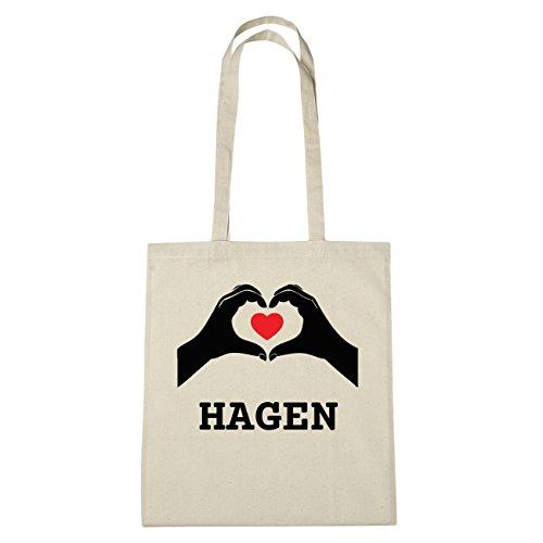 JOllify HAGEN katoenen tas B967 Natuur: handen hart