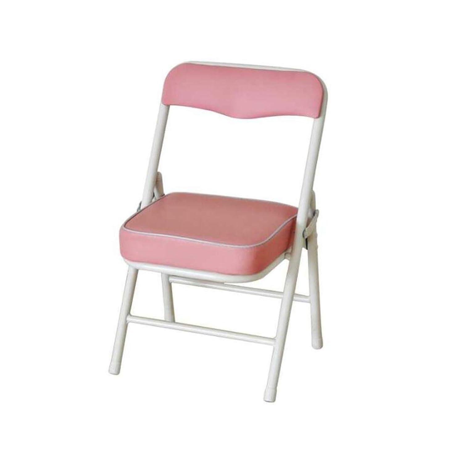 知覚する敬なキャプテンブライQIDI 折りたたみ 椅子 スツール 子 子供 シート バック 残り 管状の 鋼 フレーム PU 軽量 耐久性のある 33 * 28 * 53CM (色 : ピンク)