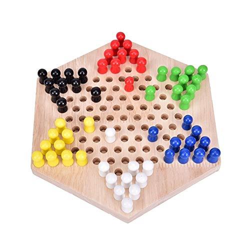 HHOSBFSS 1 Juego de 23 cm * 19.8cm Cheques de Madera hexagonales, Juego de Juegos Familiares, Juego de Mesa de ajedrez Artesanal de Regalos para niños.