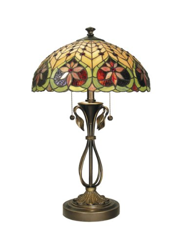 Dale Tiffany TT60024 Tiffany/Mica Two Light Table Lamp from Markus Collection Finish, 16.00 inches, Antique Brass
