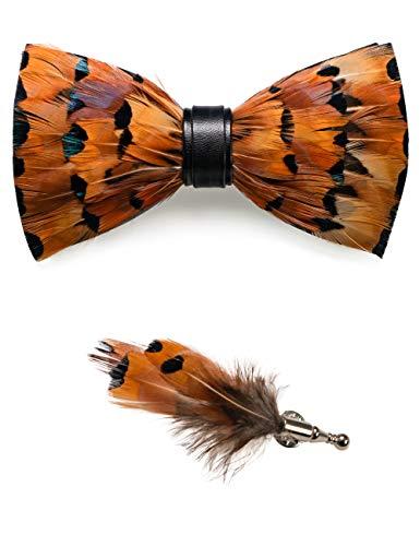 JEMYGINS Handgemacht Hochzeit Party Leder Fliege Feder Fliegen mit Geschenkbox Set für Herren, Leopard, M