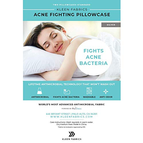 Kleen Fabrics Acne Fighting Antimicrobial Pillowcase with PurThread Silver Technology, Silver, 2 Standard Pillowcases