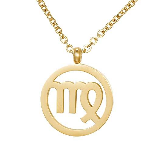 Morella damesketting sterrenbeeld roestvrij staal goud in een fluwelen zakje