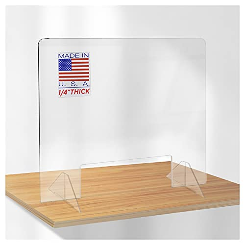 SPEEDYORDERS Sneeze Guard, 1/4' Thick 60'W x 24'H With Opening Clear Acrylic Plexiglass Shield For Desk Counter, Transaction Window for Employers, Customers, Barrier Against Sneezing