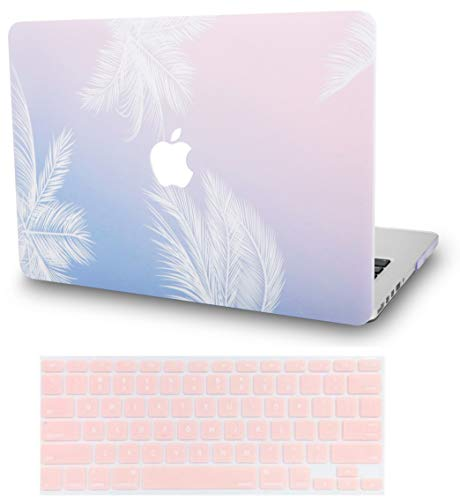 KECC MacBook Pro 13' Case (2020) w/ UK Keyboard Cover Plastic Hard Shell A2289/A2251 Touch Bar (Blue Feather)