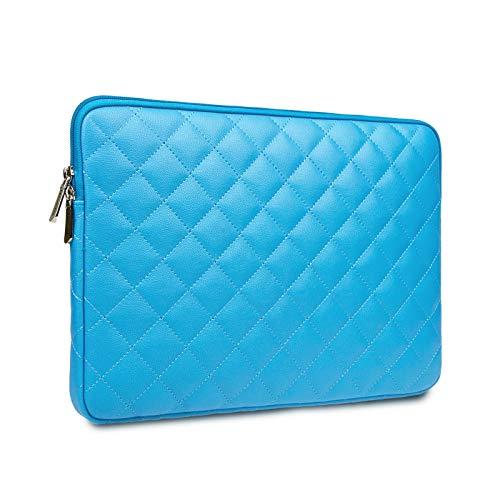 Rainyear - Funda de piel sintética para portátil de 15,6', diseño de diamantes, resistente al agua, con cremallera, compatible con ordenador portátil de 15,6', color azul