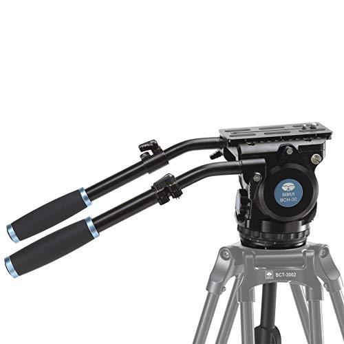 Sirui BCH-30 Fluid Videoneiger/Kopf mit Tasche (7-Stufen-Friktion, Gewicht 4,6 kg, 100 mm-Halbkugel, Aluminium) schwarz
