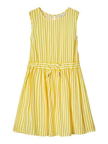 NAME IT Damen Kleid Gestreiftes Viskose 122Aspen Gold