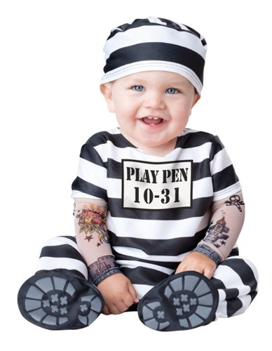 Baby Prisoner Halloween Costume: Infant Jailbird Costume (12-18 Months) Black and White
