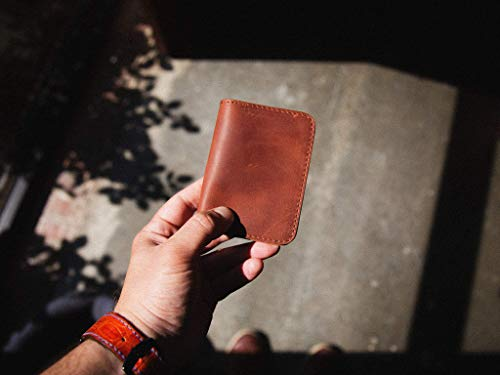 Slim Front Pocket Wallet for Men/Women made of Horween Dublin Leather of Natural Color, Skinny Leather Credit Card Wallet, Men's Minimalist Card Holder