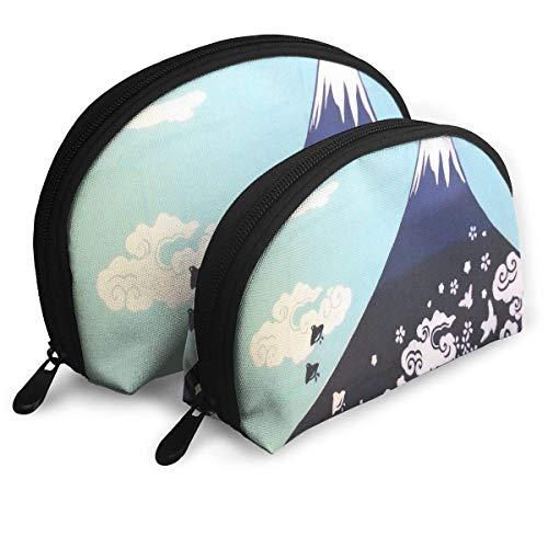 Schminktäschchen Japanese Mountain Portable Shell Pouch für Frauen Party 2 Pack