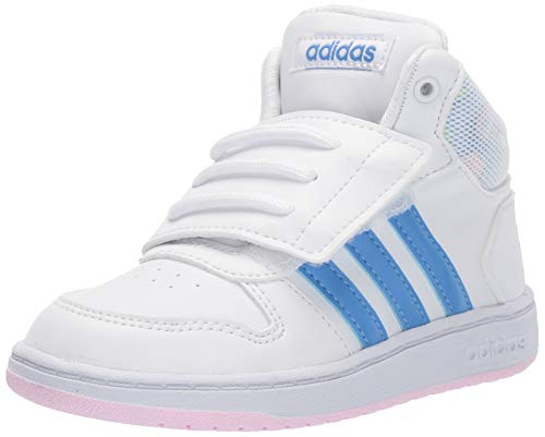 adidas Baby Hoops Mid 2.0 Sneaker, White/Real Blue/Clear Pink, 9K M US Toddler